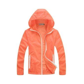 Unisex Outdoor Sport Thin Jacket Windbreaker Waterproof Sun UVprotection Lightweight Quick-dry Hiking Jackets (Orange)