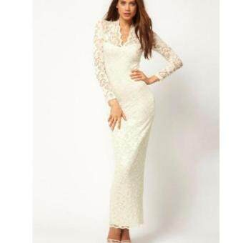Harga V-neck long sleeves bodycon Lace Women Maxi Dress(White)