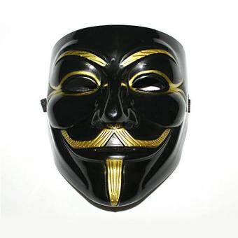 Harga V-Vendetta Costume Mask Guy Fawkes Anonymous Halloween CosplayParty Fancy Dress Black