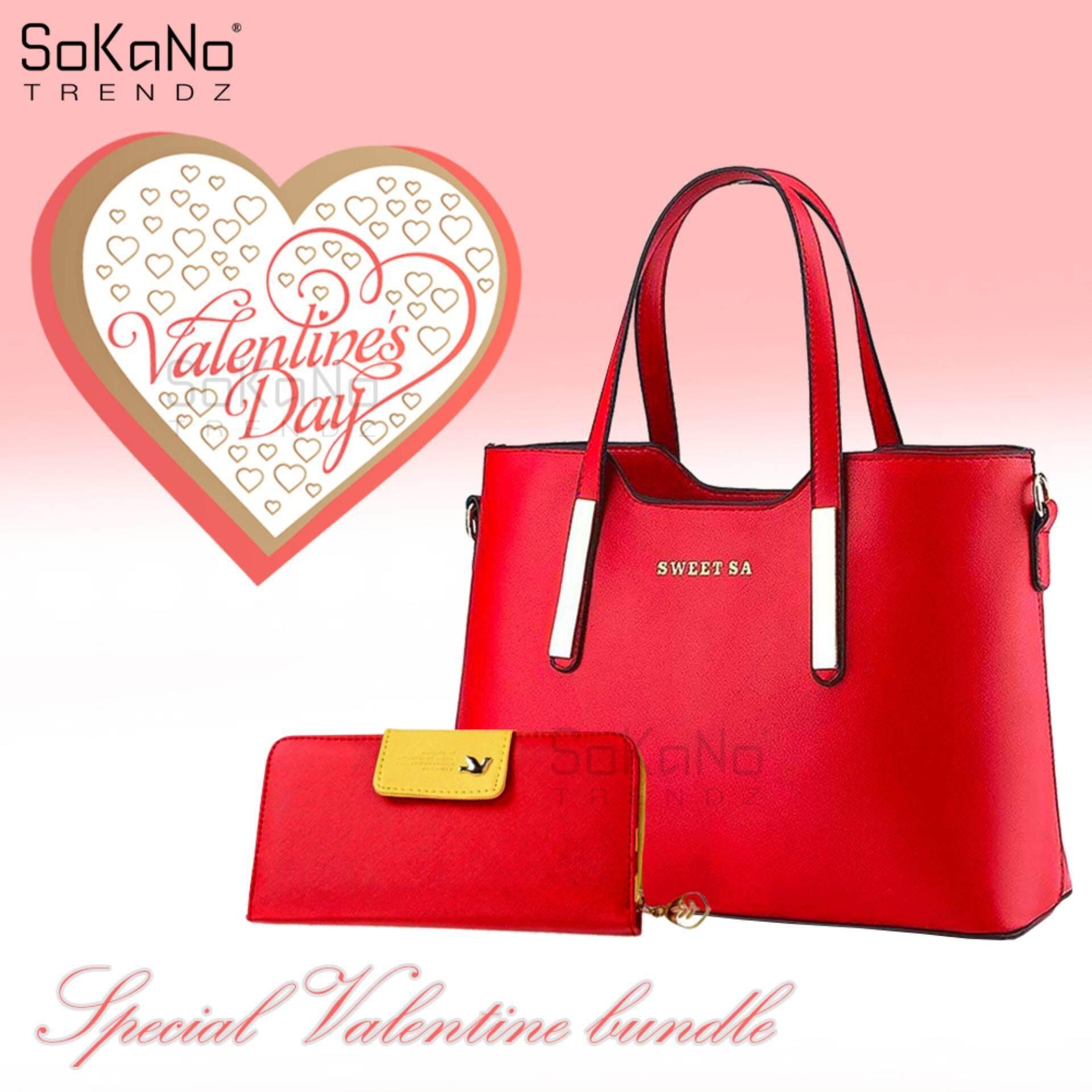 Valentine Special Bundle: SoKaNo Trendz Sweet SA PU Premium PU Leather Bag - Red + SKN903 Korean Style Premium Long Wallet Handbeg Wanita- Red