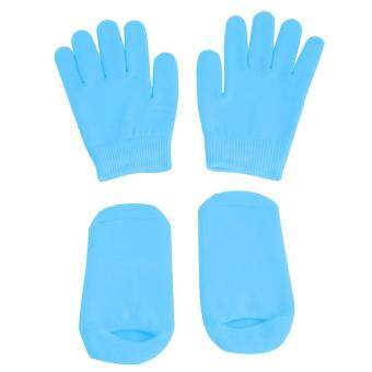 Harga Vanker-Spa Gel Moisturizing Treatment Gloves Socks For Dry SkinHand&Foot Care (Blue)