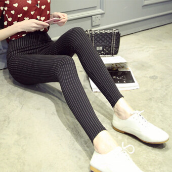Harga Vertical stripes tight black pants feet was thin trousers leggingsfemale outer wear pencil pants big yards thin section spring(Black)