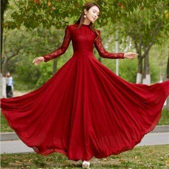 Harga vestidos 2017New Women Frill Collar Red Lace Chiffon Big swing Longsleeve Dress maxi dresse evening party dresses