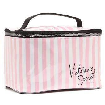 Victoria's Secret Train Case Stripe Cosmetic Case Makeup Travel Case
