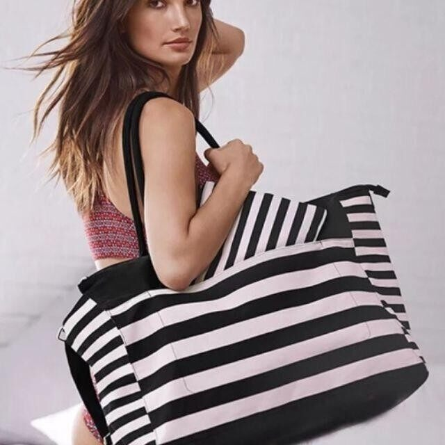 Victorias Secret Canvas Pink Black Stripes Yoga / Sport Bag