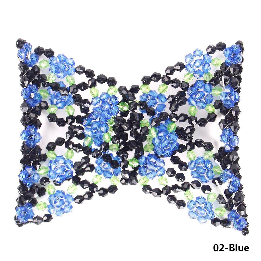 Fitur Vintage Bunga Bead Stretchy Hair Combs Double Magic Slide Sisir Girls Jewelled Beaded Elastic Stretch Rose Flower Bow Glass Cuff Insert Clips Headwear