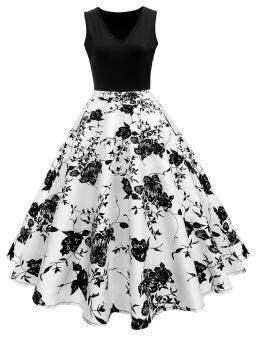 Vintage Print A Line High Waisted Dress