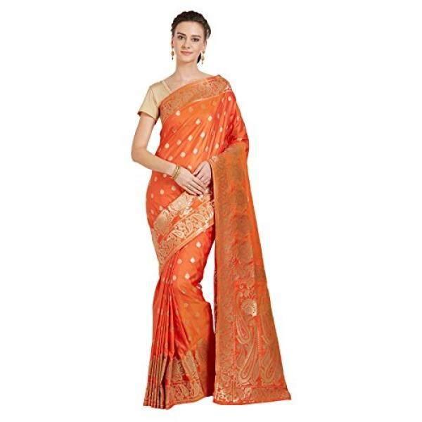 Viva N Diva Sarees For Womens Banarasi Sarees New Collection Orange Colour Banarasi Art Silk Saree With Un-Stiched Blouse Piece,Free Size - intl