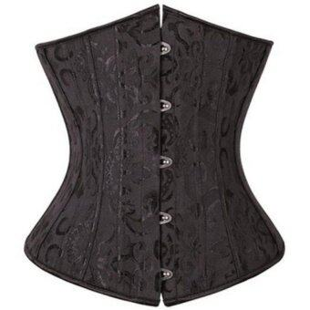 Harga Waist Training Jacquard Underbust Corset of 24 Steel Bones (Black)