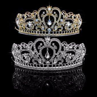 Wedding Bridal Princess Rhinestone Tiara Crown Headband Women HairAccessories (Gold)