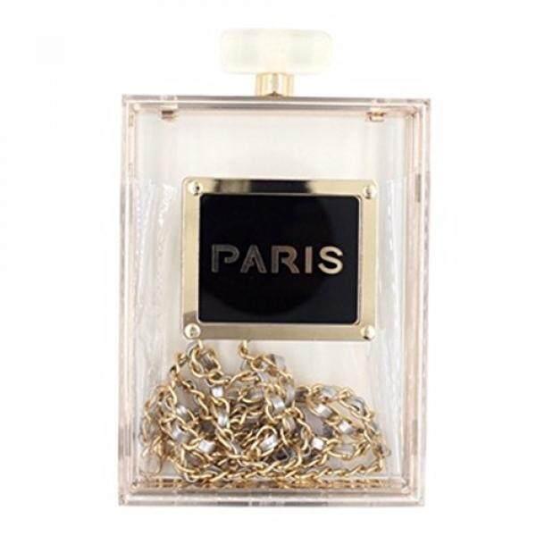 Weddinghelper Women Acrylic Transparent Paris Perfume Shape Evening Bags Purses Clutch Vintage Banquet Handbag ( transparent) - intl