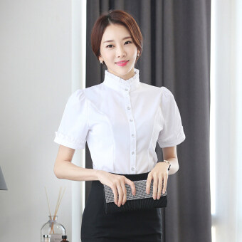 White female stand-up collar professional dress base clothing chiffon shirt (Pure white) (Pure white)