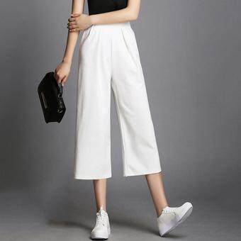 Harga Wide Leg Women Cropped Pant Ankel Length Loose Summer Casual OLOffice Business Suit Pant Female Trousers