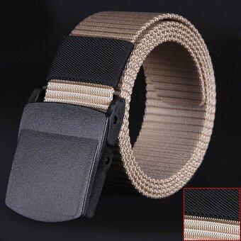 Wild-Men-Canvas-Belt-Hypoallergenic-Metalfree-Plastic-Automatic-Buckle Khaki