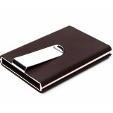 WLT-024 WINMAX RDIF Protection X-2 Elegant Fashion Credit Card Holder & Cash Clip [BROWN]