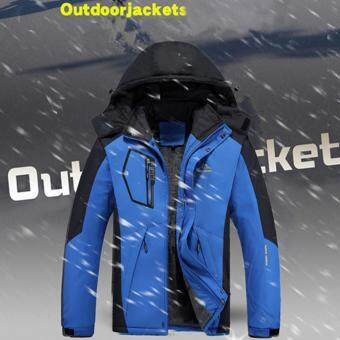 Winter Men Waterproof Hoodies Coat Windproof Outdoorwear Mountain Hiking Warm Jacket Blazer-Blue