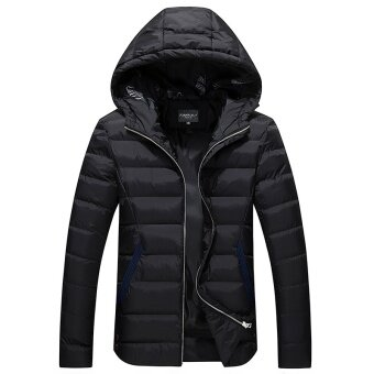 Harga Winter Warm Jacket for Men Hooded Coats Casual Mens Thick Coat MaleSlim Casual Outerwear
