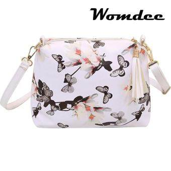 Womdee New Fashion Narcissus Floral Butterfly Printing Shoulder Bags Leather Women Fashion Tassel Handbags Messenger Bags