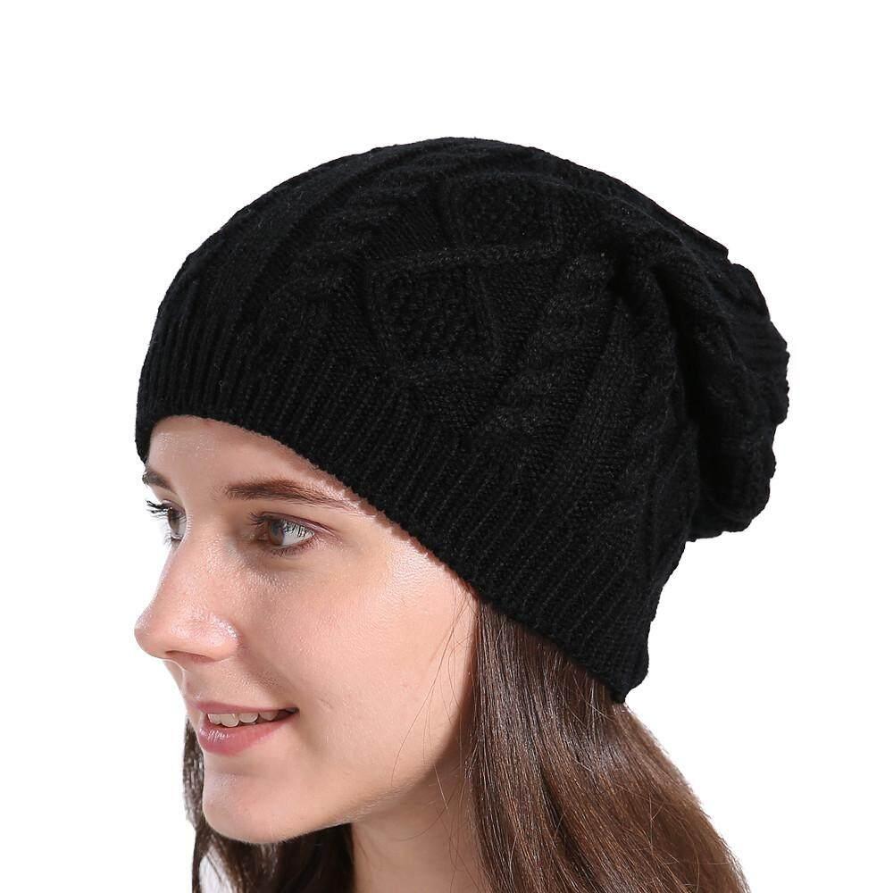 Detail Gambar Wanita Longgar Wol Musim Dingin Hangat Topi Kupluk Ski Rajut Topi Topi BK-