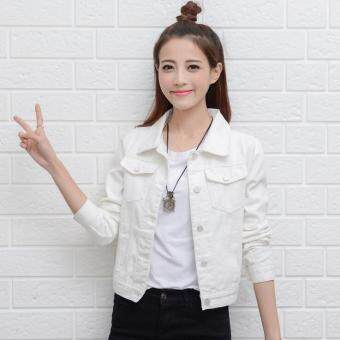 Harga Women Denim Jackets Long Sleeve Short Jeans Jacket Woman Denim Coat-White