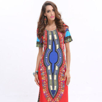 Women dress 2017 New Fashion print African pencil dress Lady (Red red) (Red