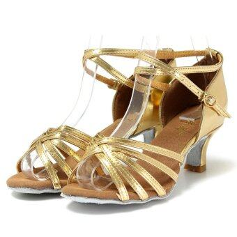 Harga Women Fashion Ballroom Latin Tango Dance Shoes Soft Sole HeeledSalsa 5 Color gold