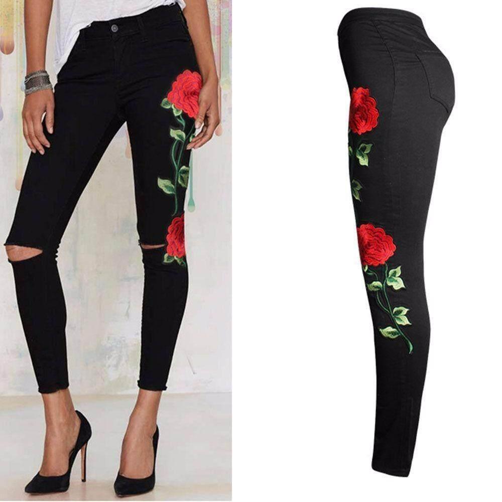 women-floral-embroidered-denim-ripped-pants-stretch-jeans-slim-pencil-trousers-1524-591318191-9688dc28b0bcf898ecc382fc716850f9- Legging Wanita Robek Terlaris lengkap dengan Daftar Harganya untuk saat ini