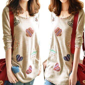 Women Fresh Hearts Flowers Print Blouse Round Neck Top Shirts - 3