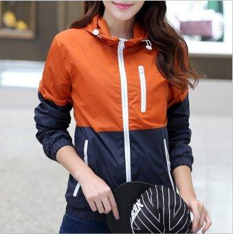 Women FS911 Outdoor Sport Thin Jacket Windbreaker Waterproof Sun UV protection Lightweight Quick-dry Hiking Jackets (Orange)