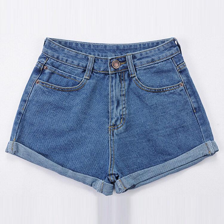 Women High Waist Loose Type Plus Size Denim Shorts (Dark Blue ...