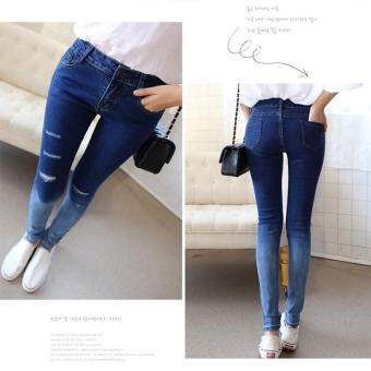 Harga Women Jeans Pants Hot Sale Pencil Full Length Denim Ripped PunkCut-out Plus Size Sexy Skinny Jean gradient color