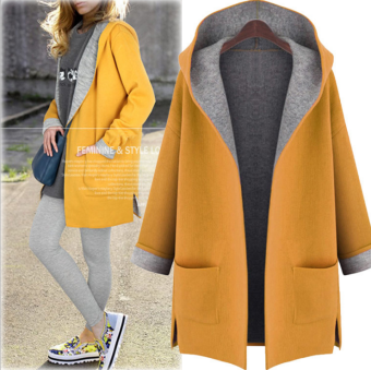 Harga Women Lady Thicken Warm Winter Trench Coat Parka Overcoat LongJacket Outwear with cap yellow