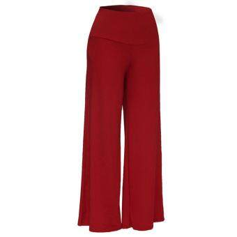 Women Lady Trousers Palazzo Stretch Wide Leg High Waist Long LooseCasual Pants Black - 5