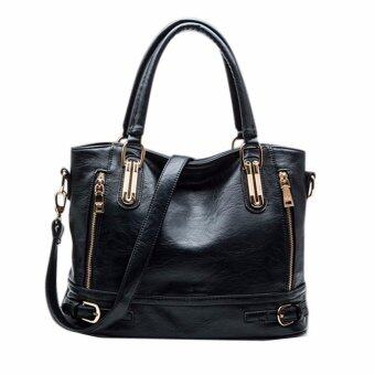 Harga Women Lady Vintage Side-Zipper Buckle Handbag Tote Shoulder Crossbody Bag Black