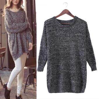 Women Long Sleeve Knitted Sweater Female Long Sleeve Pullover Knitwear  (Grey) bc75df43be