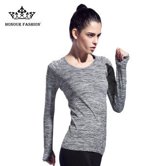 Women Long Sleeve Slim Degin Sport T-Shirt Gray Tee Top FY-002