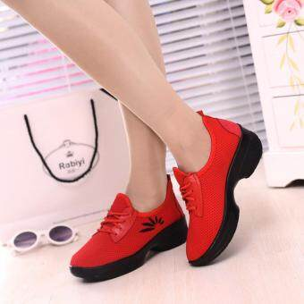 Harga Women Modern Salsa Jazz Dance Shoes net surface Dance Sport RunningSneakers red