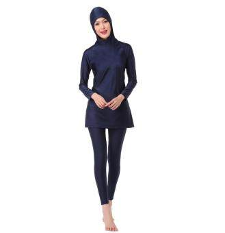 Women Muslim Swimwear Beach Bathing Suit Muslimah Islamic SwimsuitSwim Surf Wear Sport Clothing Navy Blue
