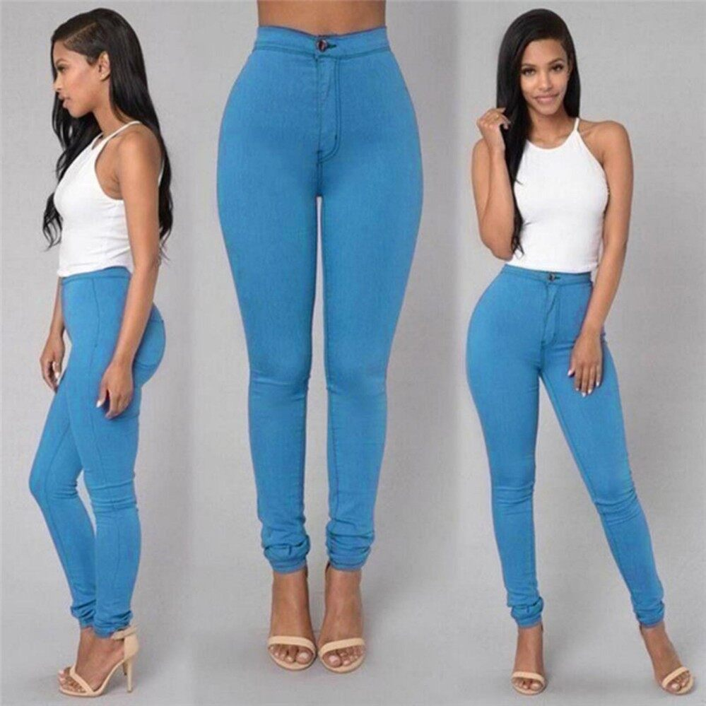 Women Pencil Stretch Casual Look Denim Skinny Jeans Pants High Waist Trousers Blue - intl