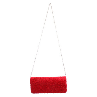 Women Satin Party Wedding Purse Bridal Shoulder Clutch Bag Chain Handbag Red