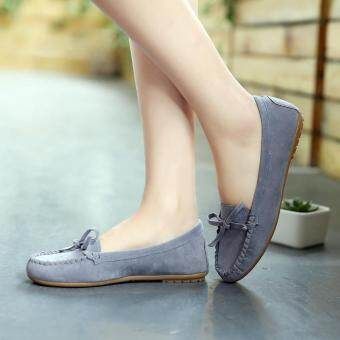 Harga Women Slip On Flats Shoes Casual Loafers Mother Moccasins BowSoftsole Round Toe grey