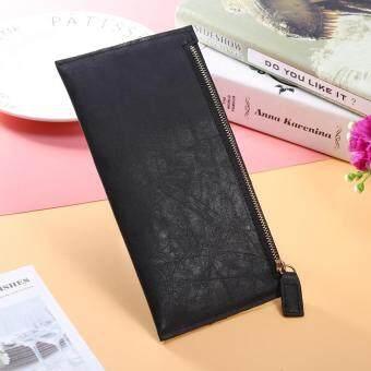 Women Zipper Long PU Wallet Slim Purse Pouch Clutch Card Money Holder Black