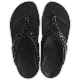 Women's Crocs Sloane Embellished Flip Blk/Blk - 2