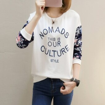 Women's Hong Kong-style Retro Long Sleeve Sweatshirt (159 * white (thin section))