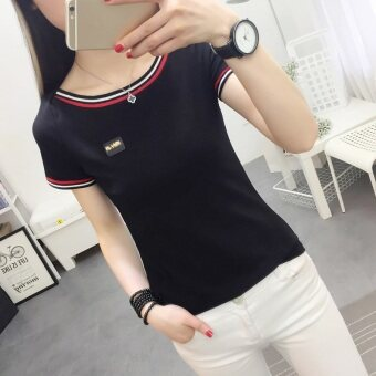 Women's Korean-style Slim Fit Boat Neck Short Sleeve T-Shirt (736 * Black)