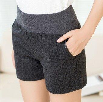 Women's Korean-style Wool High Waist Wide Leg Shorts - Dark Grey