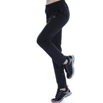 Women's Outdoor Breathable Hiking Mountain Quick Dry Pants ElasticSoft Trousers Spring Summer - BLACK