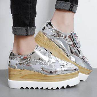 Women's Square Toe Wedge Shoes Korean Casual Loafers with Glitter Silver - 2