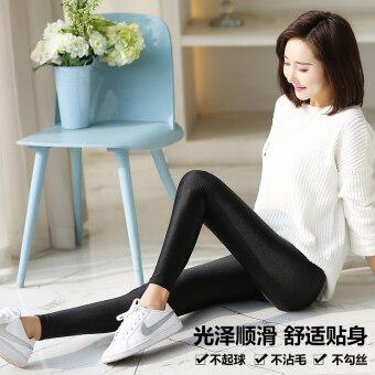 Women's Thin High Waist Burnished Skinny Pants - Black