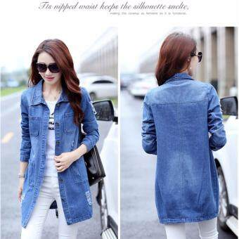 Harga Women's Korean Fashion Long Denim Jacket Ladies Girls ClassicalCasual Slim Fit Denim Coat-Blue